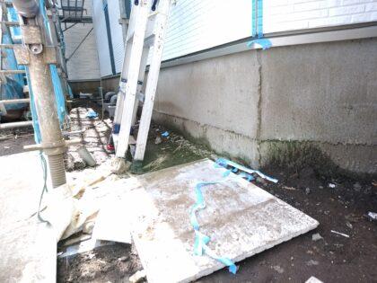飯田産業 の 建物診断 - 基礎は工事中でした。