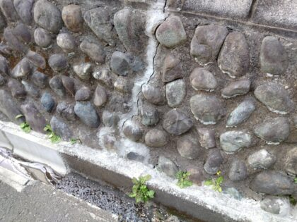 ヒビの入った古い擁壁